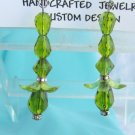 Swarovski Rhinestone Green Bead Earrings Silvertone Flower Dangler Handcrafted