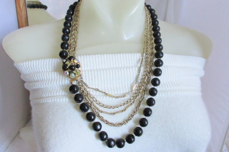Vintage Black Dimpled Beads Gold Plated Chain Bib Necklace Loaded Cluster Clasp