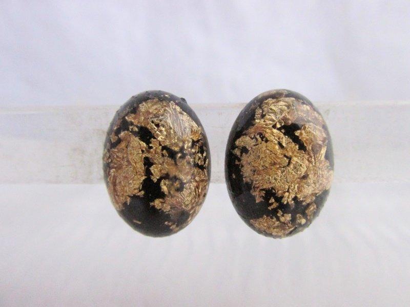 Vintage Gold Flake Zest Black Lucite Oval Earrings Goldtone Clips