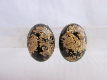 Vintage Gold Flake Zest Black Lucite Oval Earrings Goldtone Clips