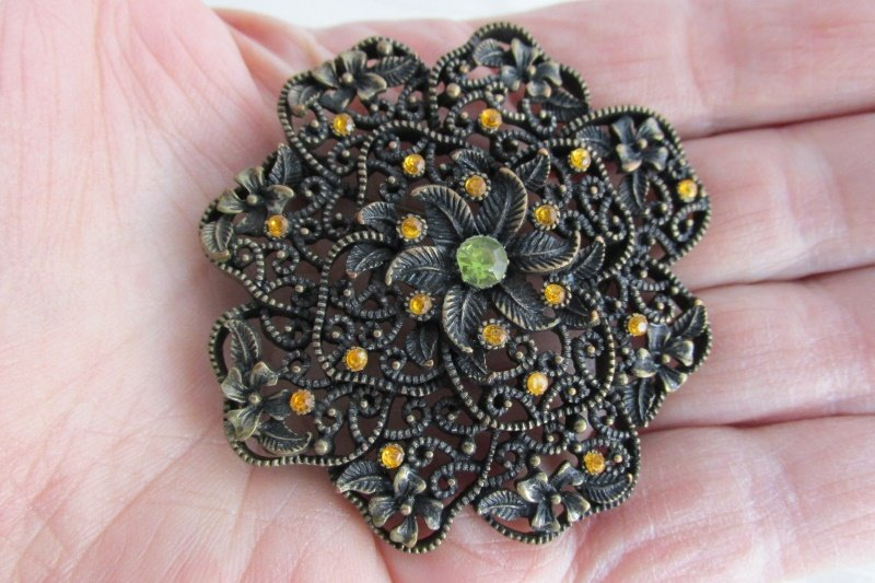 "Vintage Amber Green Rhinestones Flower 2.25"" Pin Brooch Burnished Gold Plate"