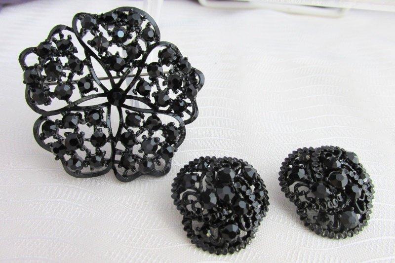 Vintage Black Rhinestone Pin Earrings Japanned Metal Black Mourning Jewelry