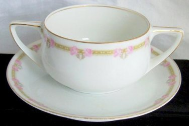 Antique Art Deco Rosenthal Bouillon Soup Cup Saucer Made Bavaria Double Handles