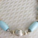 Vintage Aqua Wood & Silver Plated Beaded Choker Necklace Paper Designed by Paula