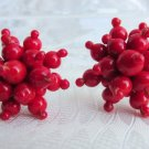 Gorgeous Vintage Red Glass Beaded Cluster Burst Earrings Silvertone Screws Japan