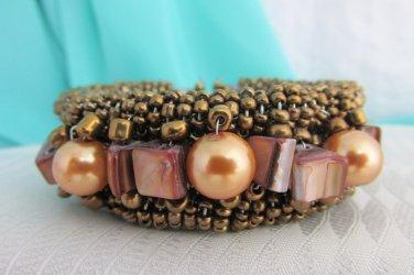 Vintage Bronzy Brown Wired Glass Beads Wraparound Cuff Bracelet Bangle MOP Beads