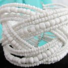 Vintage Braided Wired Glass Beads Wraparound Cuff Bracelet Brite White
