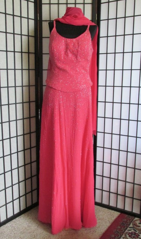 New Sz 10 Coral Beaded Silk Prom Dress Ball Gown Bridesmaid Formal Evening Alyce