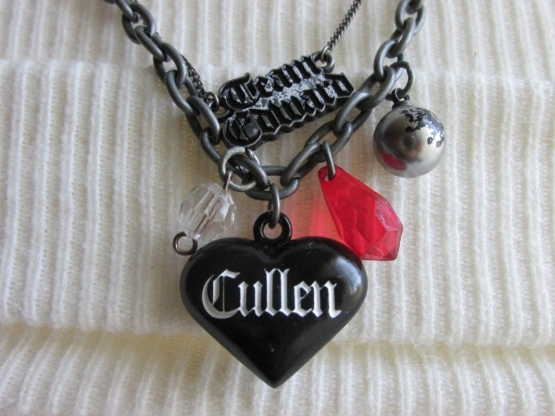 Twilight Saga Eclipse Team Edward Pendant Necklace DBL Chain Charms Pewter Tone