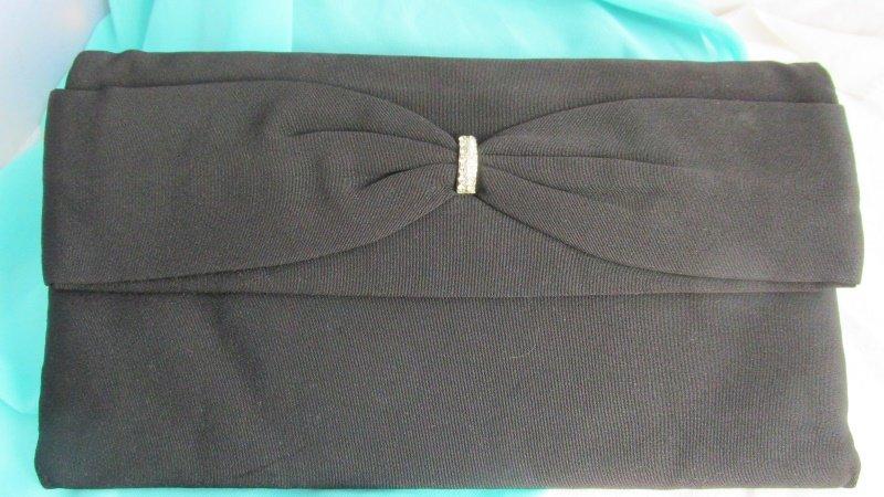 1950s Vintage Black Fabric Clutch Purse Evening Rhinestone Bow Flex Frame