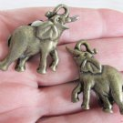 Vintage Good Luck Trumpeting Elephant Clip Earrings Antiqued GoldTone