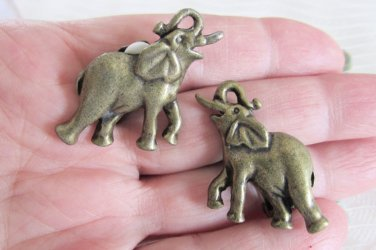 Vintage Good Luck Trumpeting Elephant Clip Earrings Antiqued GoldTone