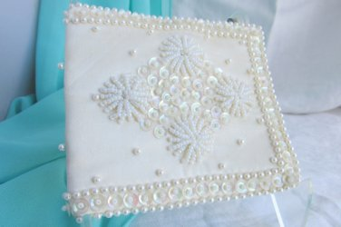 Vintage Bride's MAD MONEY Wallet Off White Sequin Beaded CAROUSEL