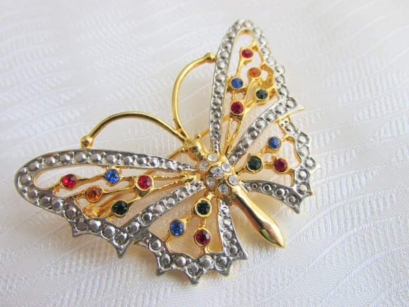 """Vintage Colored Rhinestone Butterfly Pin Gold & Silver Plate 2.25"""" Span"""