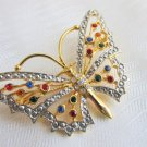 "Vintage Colored Rhinestone Butterfly Pin Gold & Silver Plate 2.25"" Span"