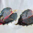 Vintage Glittery Paisley Swirl Enamel Earrings Large Leaf Emerald Navy Red Teal