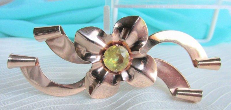 "1940s Vintage Yellow Rhinestone Flower 3-1/2"" Pin Brooch Rose Goldtone"