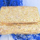 Vintage La Regale Gold Sequin Satin Clutch Purse Evening Chain Original Tag