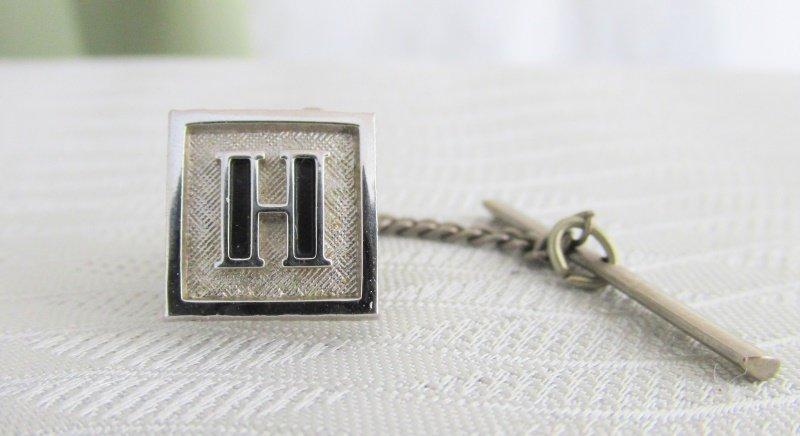 Vintage SWANK Initial H Tie Tac Silver Plate Black Enamel