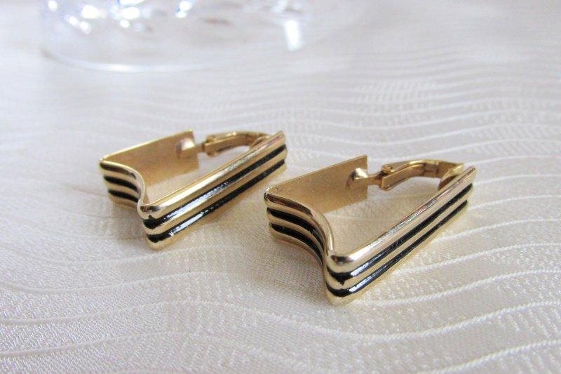Vintg LH Segal California Trapezoid Shape Hoop Earrings Gold Plated Black Enamel