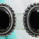 Vintage NAPIER Oval Jet Black Glass Silver Plated Earrings Clip Bead Edge