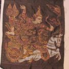 VTG Ramayana Chariot Hindu Silk Painting Print Home Wall Hanging Decor Colorful