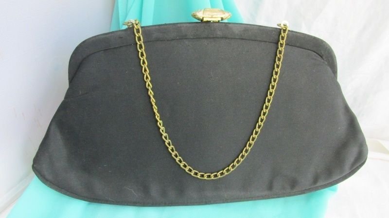 Vintage Classic Black Satin Clutch Purse Evening Gold Plate Chain Clasp