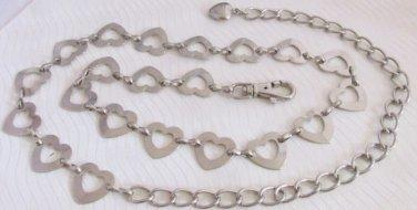 """Womens Cutout Heart Links 28-40"""" Long Belt Silver Plated Waist Hip Fashion Bling"""