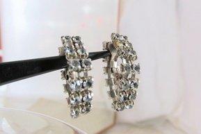 """Vintage Smoky Grey Rhinestone Swag Hoop 1"""" Earrings Clip Earrings Silvertone"""