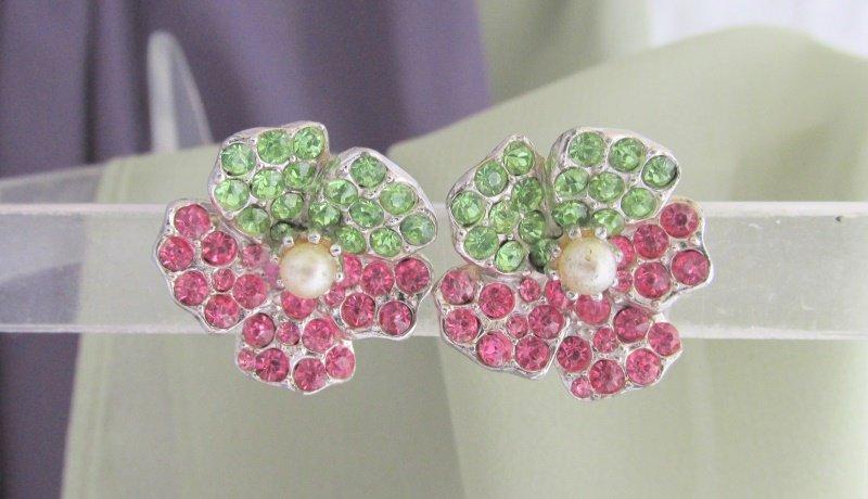 Vintage Pink & Apple Green Rhinestones Flower Earrings Silver Tone Screw Back