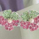 Vintage Pink & Apple Green Rhinestones Flower Earrings Silver Tone Screw Back