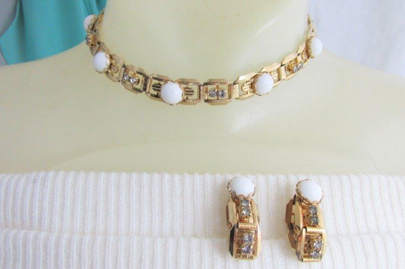 Vintage White Glass & Rhinestone Choker Bookchain Necklace Hoop Earrings Clip