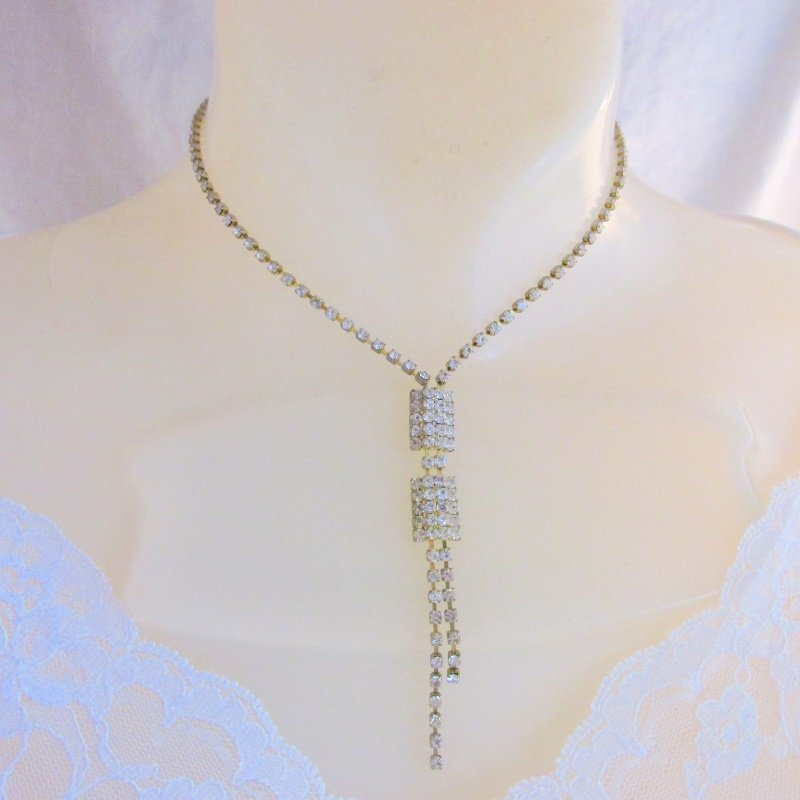 Vintage Clear Rhinestone Choker Y Necklace Gold & Silver Plate