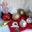 11 Pc Lot Christmas Ornaments Assorted Glass Plastic Ceramic Tear Drop Large Balls
