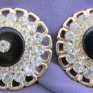 Pair Vintage Faux Onyx Rhinestone (2) Pin Brooch Gold Tone Tiered Neckline Lapel