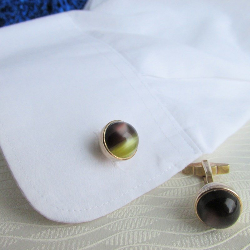 Vintage KRIESLER CRAFT Brown Yellow Moonglow Ball Cufflinks Gold Plated Signed