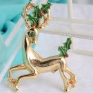 Vintage Gerry's Reindeer Antlers Holly Berry Pin Gold Plated Rhinestone Enamel