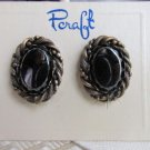 1970s Vintage Pcraft Hematite Oval Earrings Antiqued Gold Plate Rope Bead Twist
