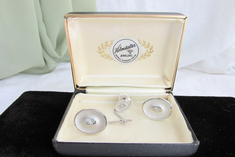 Vintage Anson Imitation Diamond Oval Silver Plated Cufflinks Tac Box Set Estate