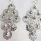 "Exotic Silvertone Filigree Disks Hematite Bead Chandelier 4"" Earrings Gypsy"