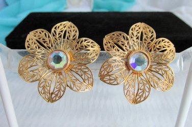 Vintage AVON AB Rhinestone Glistening Petals Flower Earrings Pierced Gold Tone