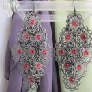 "Exotic Red Rhinestone Filigree Disks Chandelier 4"" Earrings Hooks Black Gunmetal"