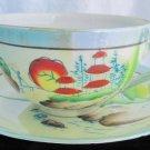 Vintage Oriental Pagoda Scene Cup & Saucer Lusterware Tan Teal Blue
