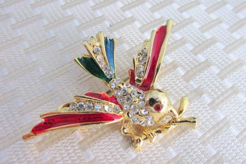 Vintage Red Blue Emerald Enamel Rhinestone Flying Bird Pin Brooch Gold Plate
