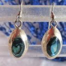 Vintage Mexico Paua Shell Dangling Earrings Alpaca Silver Pierced Signed