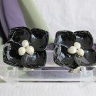 Vintage White Black Enamel Natural Tiny Shell Petal Flower Earrings Clips Unique