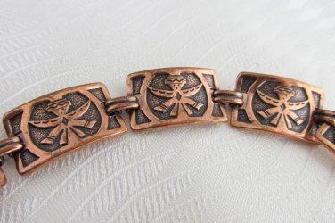 """Vintage Copper Southwest Tribal Dancer Panel Link 7.75"""" Bracelet Swivel Clasp"""