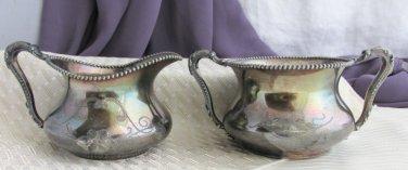 Antique Poole Silver Co Creamer Sugar Bowl #2703 Snake Handles Victorian Revival