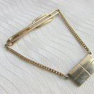 Vintage SWANK Chain Drape Rectangle Fob Charm Tie Clasp Clip Gold Plated Signed