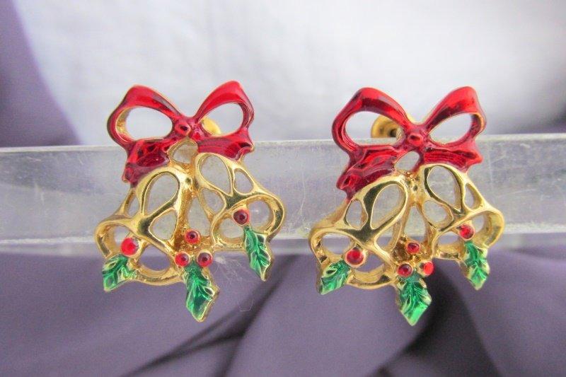 Vintage Christmas Bells Bow Cluster Red Green Enamel Earrings Gold Plate Pierced